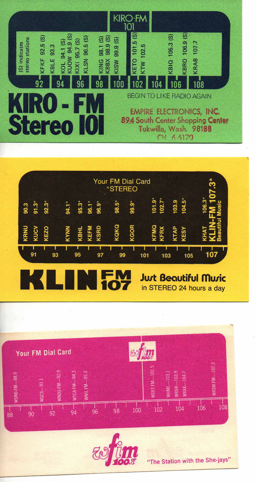 kiro-klin-wfim_radio_dial_cards