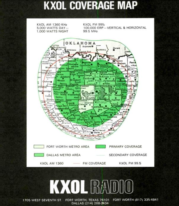 KXOL Fort Worth Coverage Map