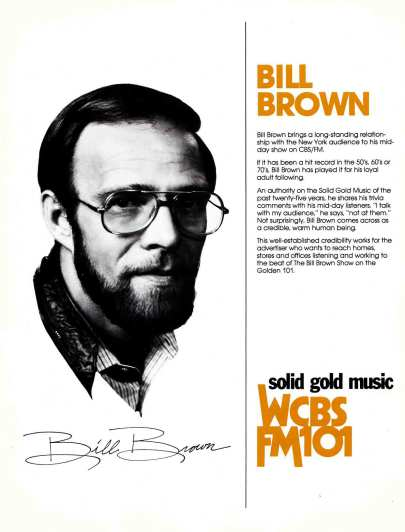 A press release on former CBS-FM on-air jock Bill Brown.