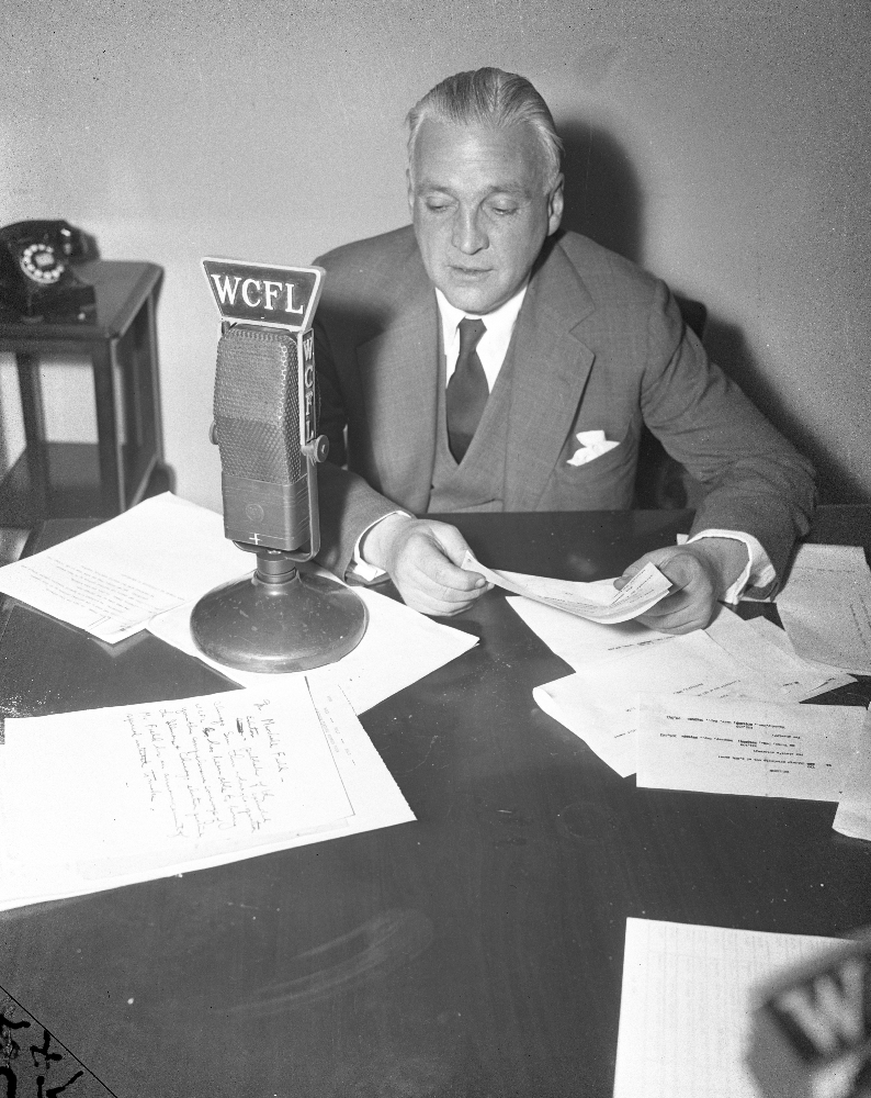 Marshall Fields on WCFL Radio 1944 Marshall Fields speaks to Chicago via WCFL Radio Nov 7, 1944. The Copy on his desk says that Fields is talking on the 1944 elections and has a special announcement of his own to make.