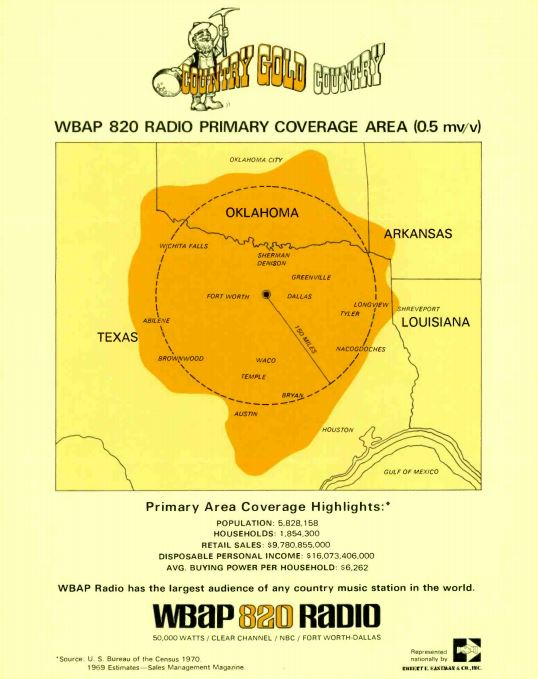 WBAP 820 Coverage Map
