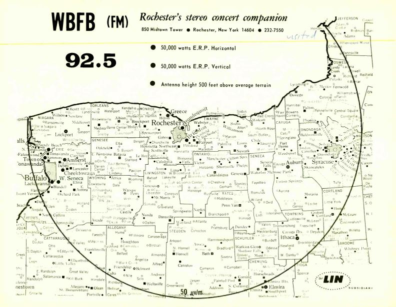 WBFB 92.5 Rochester Coverage Map