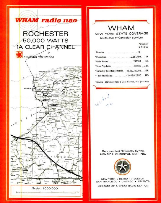 WHAM 1180 Rochester Coverage Map 1